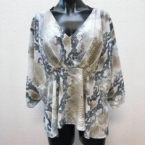 *Peach Love Gray Animal Print Blouse Medium